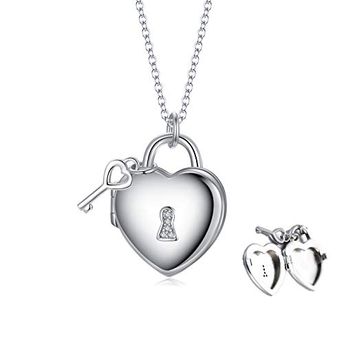 Personalized Sterling Silver Heart Locket Necklace That Holds Pictures Lock and Key Pendant with CZ (Lock & Key Necklace)