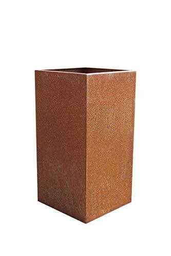 Vivanno Blumenkübel Pflanzkübel Pflanzsäule Cortenstahl Metall Eckig Block, Rostbraun (40x40x80 cm)