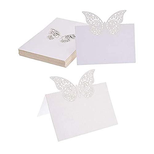 50 Pezzi Segnaposti,Farfalla Cartellini Segnaposto Bianco Segnabicchiere 3D Nome Luogo Carte per Compleanno Matrimonio Natale Festival Nozze Banchetti(Bianca)