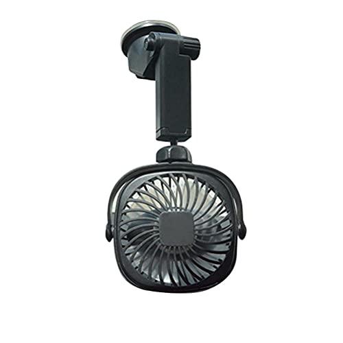 TBEONE Ventilador de coche con ventosa USB recargable ventilador de pared con rotación de 360 grados