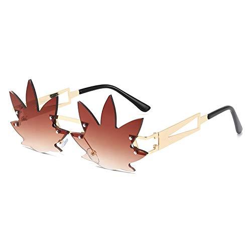Moda Gafas De Sol De Hoja De Moda De Lujo para Mujer, Gafas De Sol Sin Montura, Pantallas De Metal para Mujer Vintage, Gafas De Espejo Uv400, Marrón