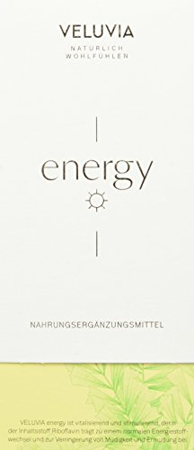 VELUVIA energy | Enegriestoffwechsel|weniger müde | Riboflavin, Vitamin B2, Vitamin B6, Vitamin B5, Eisen|Superfood| vegan| 1 Monatspackung 30x2 Kapseln| Nahrungsergänzungsmittel
