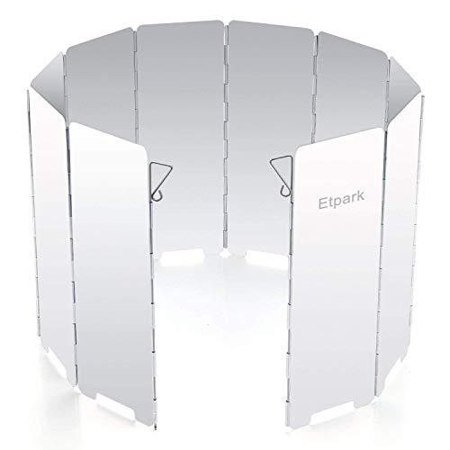 Etpark風除板 ウインドスクリーン 折り畳み式 防風板 アルミ製 10枚 延長版 軽量 収納袋 付き (風除板)