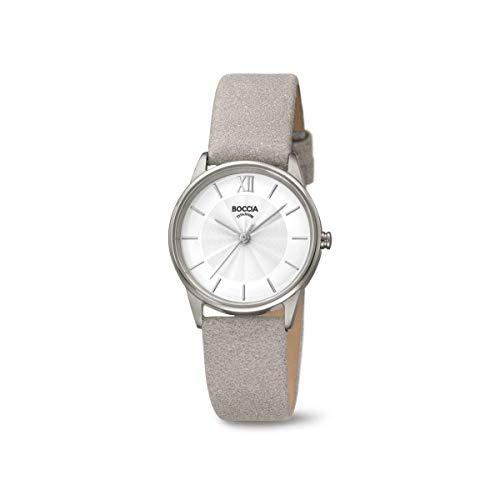 Boccia Damen Analog Quarz Uhr mit Leder Armband 3282-01