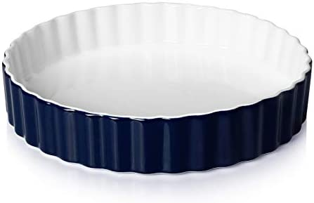 Sweese 515 103 Porcelain Tart Pan 9 5 Inches Quiche Dish Baking Pan Round Navy product image
