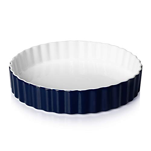 Sweese 515.103 Porcelain Tart Pan, 9.5 Inches Quiche Dish Baking Pan, Round, Navy