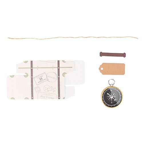 Confezione regalo da 20 pezzi Scatole di caramelle con bussola e etichette Kraft per bomboniere da viaggio Decorazione(d'oro)