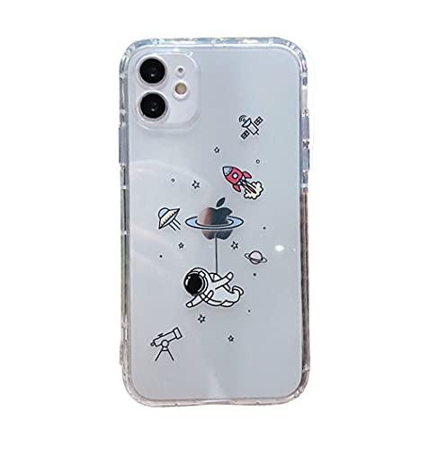 Svnaokr Carcasa transparente para iPhone, diseño de astronauta sin amarilleamiento y transparente, fina, de silicona flexible, resistente a los arañazos, para iPhone 6/6S