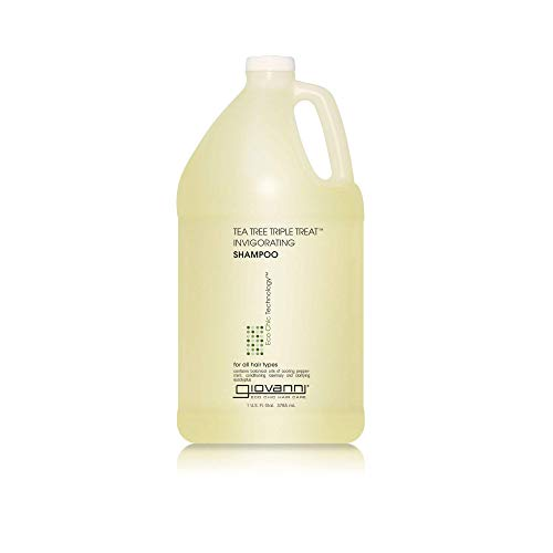 GIOVANNI Tea Tree Triple Treat Invigorating Shampoo, 128 oz. Cooling Peppermint, Conditioning Rosemary, Clarifying Eucalyptus, Helps Alleviate Dry Flaking Scalp, Sulfate Free, No Parabens (Pack of 1) New Jersey
