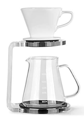 BEEM Pour Over Kaffeebereiter Set - 5 Tassen | Classic Selection | 3-teilig | Spülmaschinengeeigneter Keramik-Handfilter | Größe 2 | 0,65 l Glaskanne | Modernes Acrylglas-Gestell mit Silikonunterlage