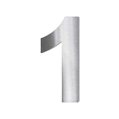 Metzler Edelstahl Hausnummer – wetterfest & pflegeleicht – selbstklebend - Schrift Arial - Höhe 75 mm - Ziffer 1