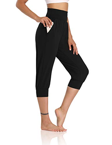 DIBAOLONG Womens Yoga Joggers Capri Loose Workout Sweatpants Comfy Lounge Pants with Pockets Black M