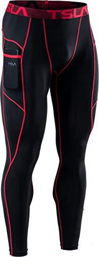 TSLA Dri Fit Mup49 - Mallas de compresión para hombre, 1 unidad, color negro y rojo, talla L