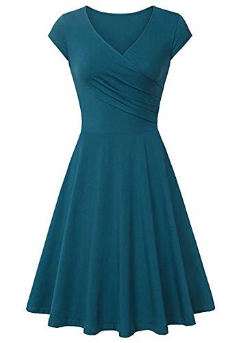 YMING Damen Slim Fit Flügelärmel Kleid Knielang Kleid Elegantes Swing Kleid Türkis XL