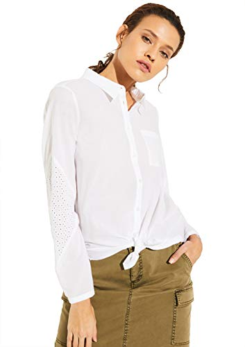 comma Casual Identity Damen Bluse mit Broderie Anglaise White 44