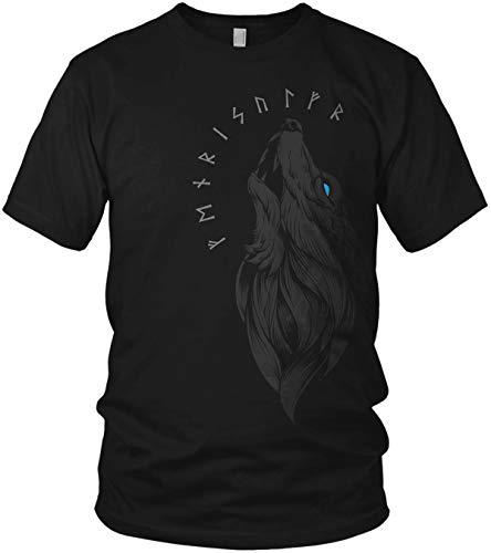 North - Fenriswolf Runen Wikinger Fenrir Valhalla Rising Walhalla Vikings Wodan - Herren T-Shirt und Männer Tshirt, Größe:XL, Farbe:Schwarz/Blau