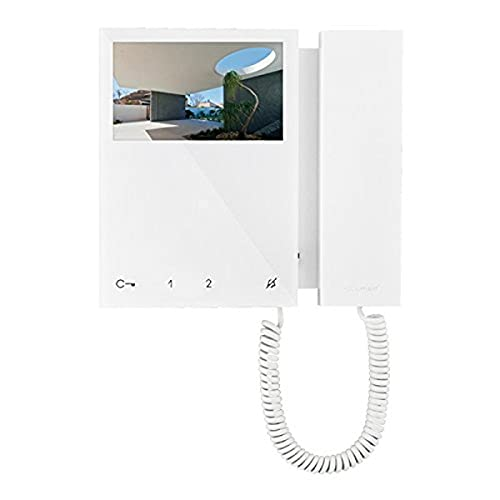 Comelit 6701 W Mini-Monitor en Colour con Teléfono, Sistema SimplebusTop, Blanco