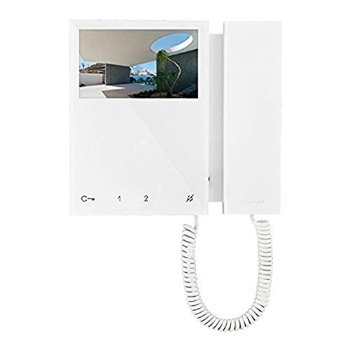 Comelit 6701W Monitor a Colori Mini con Cornetta, Sistema SimplebusTop, Bianco