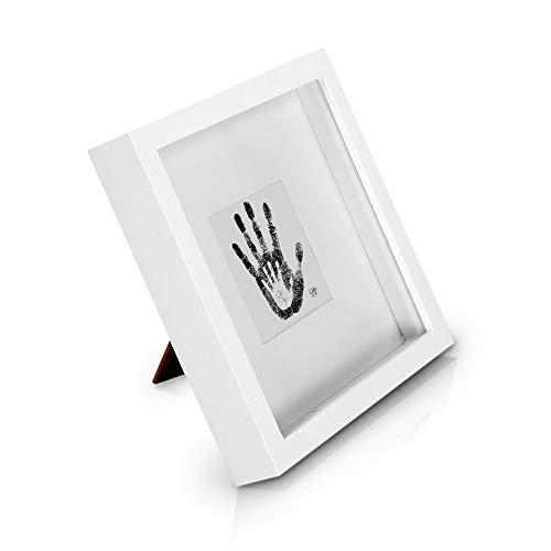 Marco de Fotos tipo Caja de 23 x 23 cm con Paspartú para foto de 10 x 10 cm o objeto de 2,5 cm de grosor - Madera de Pino - 1 Marco - Grosor del Marco 4,5 cm - Frente de Vidrio - Color Blanco