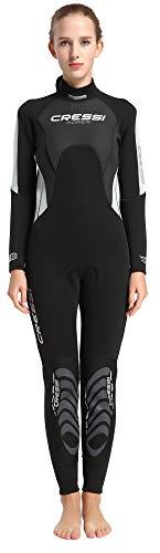 Cressi Morea Lady Monopiece Wetsuit 3mm Traje de Buceo Neopreno, Mujer, Negro/Gris/Plata, XS/1