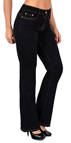 ESRA Damen Jeans Bootcut Jeanshose Schlaghose Damen Hose bis Übergröße B100