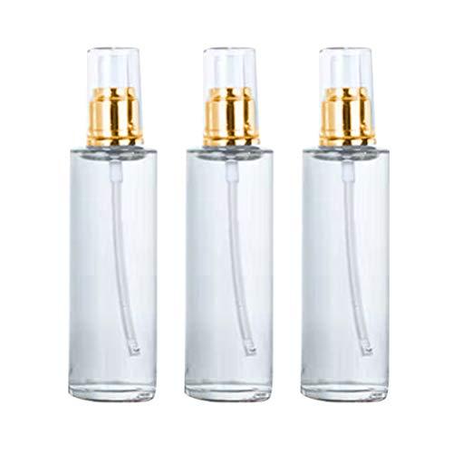 3pcs Pompe Vide Bouteille de Bouteilles cosmétiques Bouteille d'huile Essentielle Bouteilles vides Bouteille de Pompe Portable (Or et Blanc 100 ML)