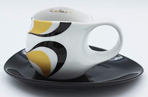 Luigi Colani Designer Espressotasse mit Untertasse Wave Black 0,08l / 80ml Model groß Espresso Tasse Gold & schwarz