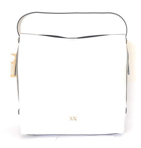 Michael Kors - Bolso de piel sople (40 x 35 x 10 cm), color blanco