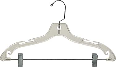 The Great American Hanger Company Clear Plastic Combo Hangers, Box of 100 Flat Ladies Hangers with Adjustable Cushion Clips and Chrome Swivel Hook