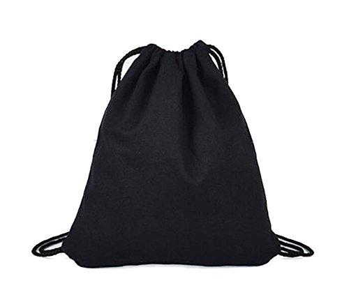 Lubier Mochila de lona de color liso, 1 unidad, bolsa de algodón y lino, bolsa de la compra con cordón