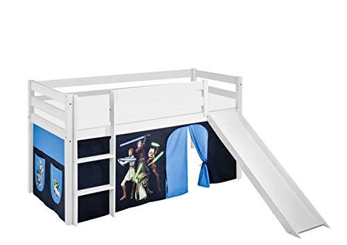 Lilokids Spielbett Jelle Star The Clone Wars, Hochbett mit Rutsche und Vorhang Kinderbett, Holz, weiß, 198 x 98 x 113 cm