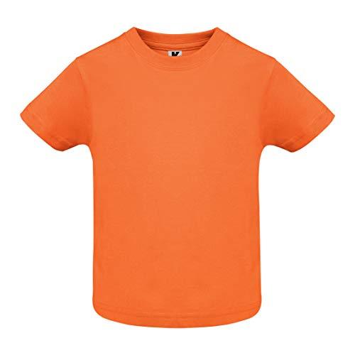 T-shirt de couleur avec manches courtes pour bébé, vêtement 100 % coton, confortable, doux, chaud et agréable au toucher. - Orange - 12 mois