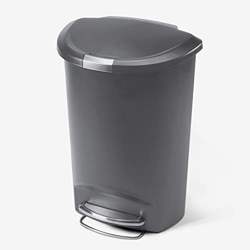 simplehuman 50 Liter / 13 Gallon Semi-Round Kitchen Step Trash Can, Grey Plastic With Secure Slide...