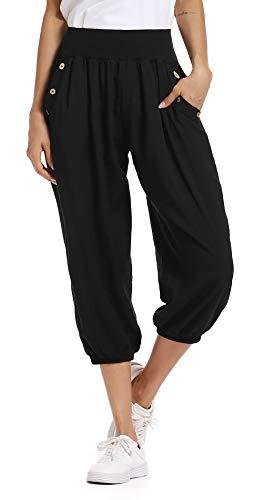 MISS MOLY Pantalon Fluide Femme Pantacourt 3/4 Ample Été Elastique Sarouel Chic Lâche Harem Evasé Elastiqué Taille Haute Pants Noir Medium
