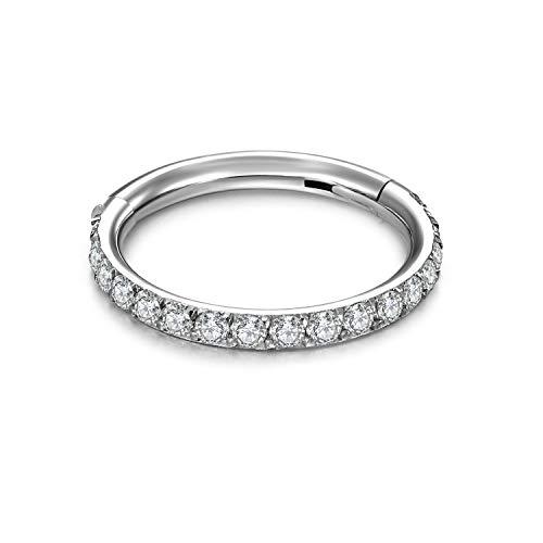 Funseedrr Segment Clicker Septum Helix Tragus Knorpel Ring 8mm Chirurgenstahl mit Kristalle 1,2mm Silber Rosegold