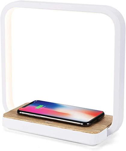 WILIT A13 Nachttischlampe Ladefunktion, 10W Qi-Zertifiziert Kabelloses Ladegerät, 12W Holz Tischlampe Touch Dimmbar mit 60 LEDs, Wireless Charger für iPhone 12/11/XR/X/8, Samsung Galaxy S10/S9+/S8+