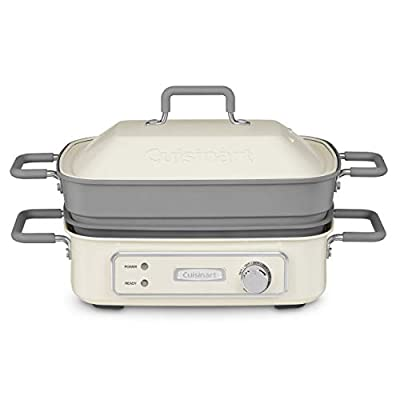 """Cuisinart GR-M3 STACK5 Multifunctional Grill, 12.0""""(L) x 9.0""""(W) x 6.0""""(H), Off-White"""
