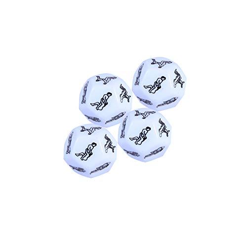 BESTOYARD 4pcs Erwachsene Würfel Spiel Lustige Liebe Würfel Spielzeug Rollenspiel Zubehör für Paare (weiß)