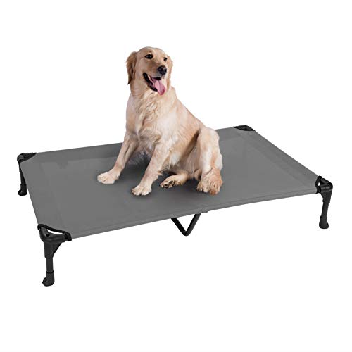 Veehoo Cooling Elevated Dog Bed, Portable Raised Pet Cot with Washable & Breathable Mesh, No-Slip Rubber Feet for Indoor & Outdoor Use, X Large, Silver Gray