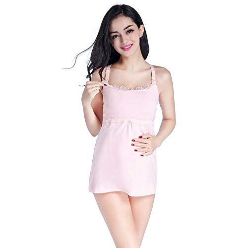 Damen Still Hemdchen Still BH Casual Mode Elegante Stillbluse Stilltop Mit Verstellbare Einfarbig Umstands Schlafkleid Schlafanzug Pyjama Schwarz (Color : Rosa, Size : L)