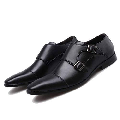 Scarpe Oxford in Pelle Punta Quadrata Scarpe Eleganti da Uomo con Doppia Fibbia Scarpe da Sposa Maschili Scarpe da Lavoro Casual di Grandi Dimensioni