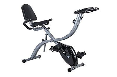 GOJOOASIS Folding Magnetic Exercise Bike Stationary Upright X Bike w/ 8-Level Adjustable Magnetic Resistance and Pulse Rate Sensors