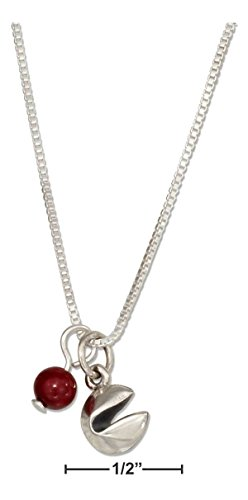 Sweet Emily's Collection Sterling Silver 18' Chinese Fortune Cookie Pendant Necklace with RED Riverstone