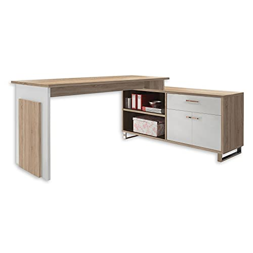 MANAGER Eckschreibtisch in Eiche Sonoma Optik, Weiß - Moderner Bürotisch Computertisch mit großer...