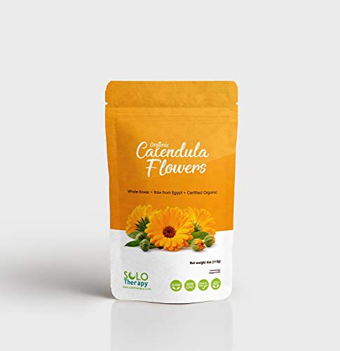 Certified Organic Calendula Flowers | Whole | 4oz Resealable Bag | 100% Raw From Egypt | Flores De Calendula | Herbal Tea (Calendula Flowers)