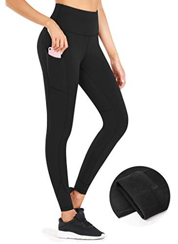 CUGOAO High Waist Fleece Lined Leggings for Women, Thermal Yoga Pants with Pockets for Women Tummy Control Workout Leggings