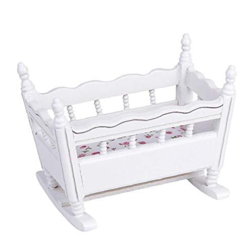 xiaocheng Blanco De Madera En Miniatura 01:12 Horquilla del Bebé De La Muñeca Cuna De Muñecas Linda Decoración De Juguetes para Niños