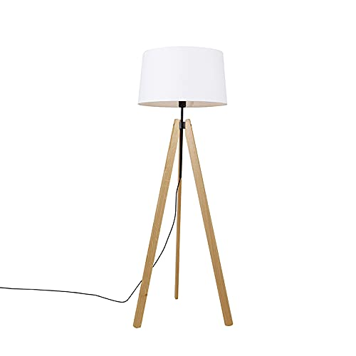 QAZQA Moderno Vloerlamp tripod hout met linnen kap wit 45 cm - telu Madera/Lino Alargada Adecuado para LED Max. 1 x 40 Watt