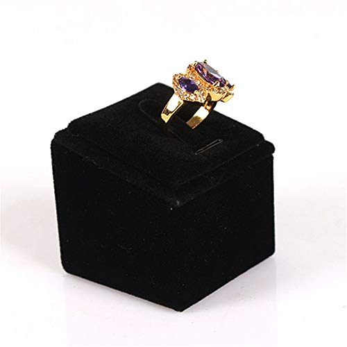 GJHT Jewelry Organizer Holder Ring Display Stand Storage Stand Display Stand Accessories Creative Square Ring Holder Ring Stand for Rings Bracelets (Color : Black, Size : 5x5x5cm)