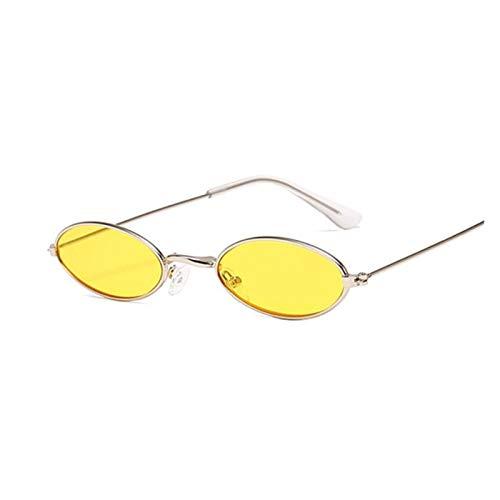 YTG Gafas de Sol de la Vendimia Ovalada Feminino, Retro, Pequeno, Vintage, Preto, Vermelho, Cor de Metal, el diseño de Moda Feminina (Color : SilverYellow)
